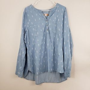 Le Tigre Pinapple Chambray Long Sleeve Top
